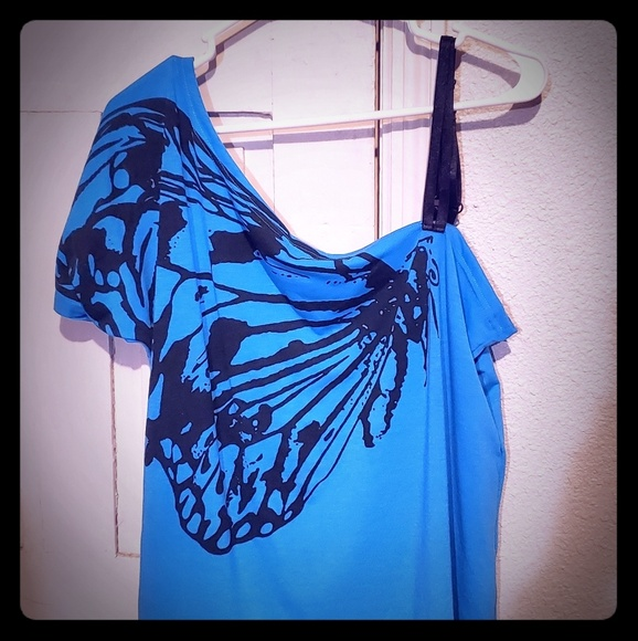 Tops - Butterfly Print One Shoulder Top